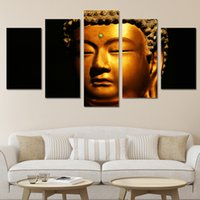 Wholesale buddha paintings free for sale - Group buy 5Pcs Set HD Printed golden buddha Painting Canvas Print room decor print poster picture canvas NY