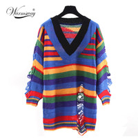 Wholesale Poncho Tricot - Wholesale- Hot 2017 Spring Female Ripped Sweater and Pullover Women Tricot Knitwear Punk Novelty Hollow Hole Girl Poncho Jumper WS-034