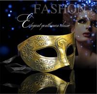 eski karnaval kıyafetleri toptan satış-Kostüm Partisi Maskesi erkek retro Greco-Roman Gladyatör masquerade maskeleri Vintage Altın / Gümüş Maske gümüş Karnaval Maskesi Cadılar Bayramı maskeleri I061