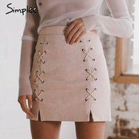 Wholesale Dabuwawa Skirt - Simplee Autumn lace up leather suede pencil skirt Winter 2016 cross high waist skirt Zipper split bodycon short skirts womens