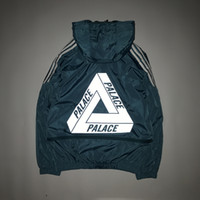 Wholesale Men S Cotton Stitching Jacket - 2017SS Palace Men's Black Thin Jacket Fashion Hit Color Stitching Letters Palace Jackets Windbreaker Triangle Jacket Hoodie
