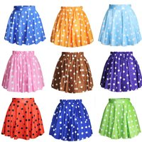 Wholesale Blue Polka Dot Skirt - 11 Colors Cute Mini Skirt Women's Fashion Casual Polka Dot Digital Print Stretchy Pleated Skater Short Skirt
