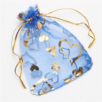 Wholesale Love Heart Organza Bags - Gold Bronzing Love Heart Organza Jewelry Pouches Gift Bag Wedding Favor Bags 7*9cm  9*12cm 13*18cm 17*23cm