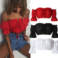 Wholesale red shoulder top - Womens Fashion Sexy Summer Short Sleeved Slash Neck Off-Shoulder Crop Tops Shirt Tee Blouse