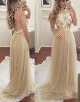 vestido de baile halter venda por atacado-Elegante A-Line Halter Tulle De Ouro Longo Prom Vestidos Espumante Beading Lace Applique Backless Evening Party