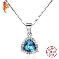 Wholesale Sterling Silver 925 Sea - BELAWANG Classic 925 Sterling Silver Sea Blue Crystal Pendant Necklace Lobster Clasp Adjustable Box Chain Necklace Fashion Jewelry for Women