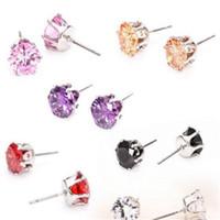 Wholesale korean crystal jewelry zircon - Earings for Woman Gemstone Crystal Stud Earrings DHL Jewellery Gift Korean Fashion Jewelry 925 Silver 18K Gold Plated Zircon Stud Earrings