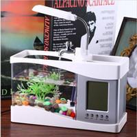 Wholesale Mini Desktop Aquarium - Usb Mini Fish Tank Desktop Electronic Aquarium Fish Tank with Water Running LED Pump Light Calendar Clock White&Black