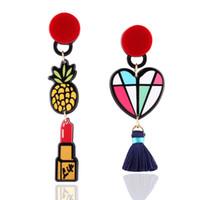 Wholesale Lipstick Resin - hot sale fashion jewelry designer popular style woman lady Asymmetric fashion cute fruit lipstick long love resin dangle chandelier earring