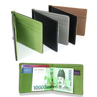 Wholesale Wholesale Metal Money Clips - Wholesale- New Fashion Simple Designer Men Money clips wallets with metal clamp women slim purses with card slots 11.3*8.2*0.8 cm
