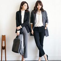 Regular Fit Frauen Kleidung Formal Office Damen Mode Wear Schwarz Grau Elegant Office Pants Für Damen
