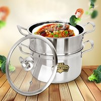 Wholesale Soup Pot Stainless Steel Steamer - Stainless steel Double Boilers pot 2 layer double layer two thicker pot with household soup pot steamer cookware