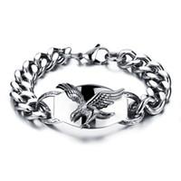 bracelet aigle achat en gros de-Punk 316L En Acier Inoxydable Hommes Bracelet Casting Eagle Bracelet Lien Chaîne Bracelet Anti-allergie Bracelets Pour Hommes