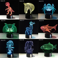 Wholesale Diy Modern Table Lamp - USB 121 style 3D Night 7 Colors Changing Animals Led Night Lights 3D LED Desk Table Lamp Modern Decor for Home