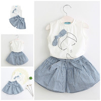Wholesale striped top dress - Girls Dress 2017 Summer Skirt Set 2PCS Baby Clothes White Sleeveless Bowknot T-shirts Tops Striated Pantskirt Kids Clothing XY502