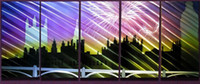 Compra Città Astratta-Spedizione gratuita Handcraft Alluminio Metal Wall Art <b>Abstract City</b> Building Pittura moderna contemporanea Scultura Pittura Decor pronto ad appendere