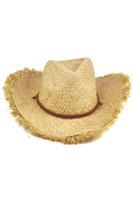 Wholesale Mens Cowboy Straw Hats Wholesale - Wholesale- TFGS 2016 Hot Style Mens Womens Fashion Unisex Feathered Edge Natural Straw Cowboy Sun Hat Cap