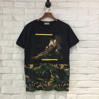 Wholesale Blending Oil Paints - 2017 Wholesale off clothing white Men's T-Shirts Oil joint camouflage painting hip hop clothing mens designer shirts plus size