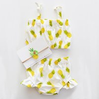 Wholesale Swimsuit Top Cute - Baby girls cute bikni 2pc set halterneck top+shorts pineapple dots floral swimwear suits infants swimsuit beach clothing for 1-5T