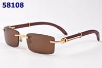 Wholesale Glasses Bamboo Frame - Luxury Designer rimless sunglasses rectangle wood bamboo frame buffalo horn glasses for men women brown lenses