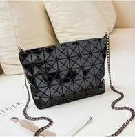 Wholesale Folding Pvc - New Variety of geometric folding female package small Ling grid chain bag shoulder Messenger bag
