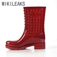 Wholesale Shoe Pvc Boot Rain - Wholesale-Shoes Woman 2016 Plus Size Women Round Toe Low Heel Rains Boots Shoes Fashion Black Khaki Women Boots