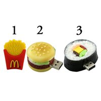 Wholesale Cute 32gb Flash Drive - Free shipping 16GB USB2.0 Pendrive, USB Flash Drive 8GB 16GB 32GB Full Capacity Cute French Fries Pizza Burgers USB 2.0 Flash Drive PenDrive