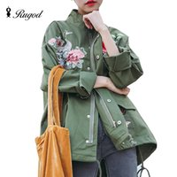All'ingrosso-Rugod New Spring Women Cappotti Basic Ricamo Floral Coat Army Green Black Fall Giacche Donna Chaquetas Mujer Fashion Overcoat