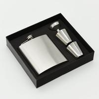 ingrosso i regali del fiasco dell'anca-Boccette d'argento Set 7 once Hip Fask 2 tazze Set in acciaio inox Boccette Hip Pot Schiuma Una scatola interna e regalo