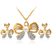 Wholesale Diamond Bow Fashion Earring - Fine Jewelry sets S069 HM fashion jewelry set big bow pearl diamond necklace earrings