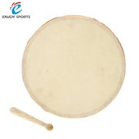 "Wholesale Hand Drum Sheepskins - Wholesale- 8"" Wood Hand Drum Dual Head with Drum Stick Percussion Musical Educational Toy Instrument for KTV Party Kids Toddler"