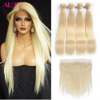 Wholesale 32 Inch Hair Extensions 613 - Straight Blonde Hair Color #613 Ear to Ear 13x4 Lace Frontal Closure With 4 Bundles Brazilian Virgin Human Hair Blonde Weaves Extensions