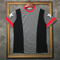 Wholesale Mens Red Star T Shirt - 2017 Summer Fashion Cuffs white five-star Printed T-Shirt Mens Short Sleeve Tee Tops Clothing Grey Red Color Free Shipping