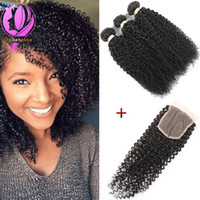 Wholesale Cheap Kinky Curls Hair Extensions - 3Bundles 100g pcs Curly Wave With Closure Brazilian Peruvian Malaysian Virgin Hair Weave Cheap Kinky Curl Brazilian Human Hair Extensions