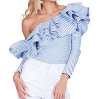 Wholesale Ladies Long Sleeve Silk Blouses - Women Fashion Striped Ruffles Blouse Off Sholder Ladies Elegant Tops Clothing Shirts Tops Long Sleeve Shirt Women Blouses Femme