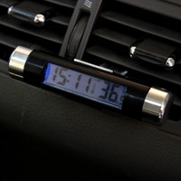 Wholesale Lexus Clock - SUV Vehicle Vent Clip LED Backlight Digital Display Clock Thermometer Practical Free shipping