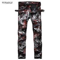 calças de brim do hip hop dos homens venda por atacado-Atacado- Moda Mens Floral Impresso Calças Jeans Slim Fit Hip Hop Pintados Denim Joggers Man Club Wear Calças Jeans Personalidade Em Linha Reta