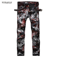 Wholesale floral print skinny jeans - Wholesale- Fashion Mens Floral Printed Jeans Pants Slim Fit Hip Hop Painted Denim Joggers Man Club Wear Personality Jeans Trousers Straight