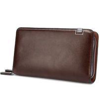 Wholesale Mens Designer Leather Wallets - Luxury Wallets Double Zipper Leather Male Purse Business Men Long Wallet Designer Brand Mens Clutch Handy Bag carteira Masculina