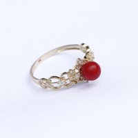 Wholesale 9k Rings - 2017 NEW 1 PCS Retro Court ring 9K GOLD Red Coral Bead R=5.5mm Fashion accessories gifts