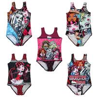 alta qualidade miúdos trajes venda por atacado-One-Piece Swimsuit Monstro Alta Meninas Swim Digital Print Costume Crianças 5-10 T de Alta Qualidade De Fibra De Poliéster LG-83