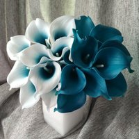 Wholesale Teal Blue Wedding Decorations - Wholesale-100 Real Touch Calla Lily Teal Latex Calla Lilies Teal Blue Wedding Flower For Wedding Centerpieces Decoration Wholesale Flowers