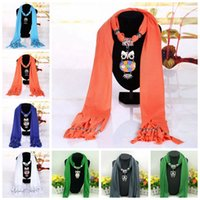 collares de bufanda para mujer al por mayor-Búho colgante borla bufanda de las mujeres cálidas bufandas de poliéster aleación collar colgante bufandas chal abrigos accesorios 36 estilos 100pcs OOA3248