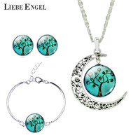 Wholesale Bangles Pictures - LIEBE ENGEL Vintage Silver Color Jewelry Sets Tree Picture Glass Moon Necklace Stud Earrings Bracelet Bangle Sets Women 2017