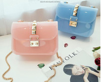 Wholesale Small Jelly Candy Bag - Special summer jelly bag beautiful said handbags sweet ladies lock buckle small bags Candy Color fashion gift women