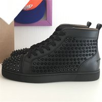 Wholesale Lace Up Studded Boots - Real photo Men fashion Casual Shoes black studded TRAINERS spikes rivets flats high top sneakers shoes boots genuine leather