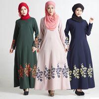 Wholesale Abaya Embroidered - Women Muslim Abaya Kaftan Islamic Long Embroidered Dress Fashion Apparel Long Sleeve Clothing Panelled Free Shipping