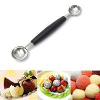 Wholesale Fruit Spoons - Double Ended Headed Fruit Icecream Ball Spoon Melon Baller(length 18cm)