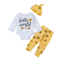 Wholesale hello girl hat resale online - Newborn Baby Outfits Cotton Baby Clothes Sets Long Sleeve Hello World Tops Romper Pants Hat Cute Boutique Boys Girls Clothing Set