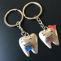 Wholesale Tooth Keyrings - Creative Zinc Alloy Funny Tooth Shaped Keychains Keyrings for Lovers Party Souvenir Gift FREE SHIPPING ZA3814